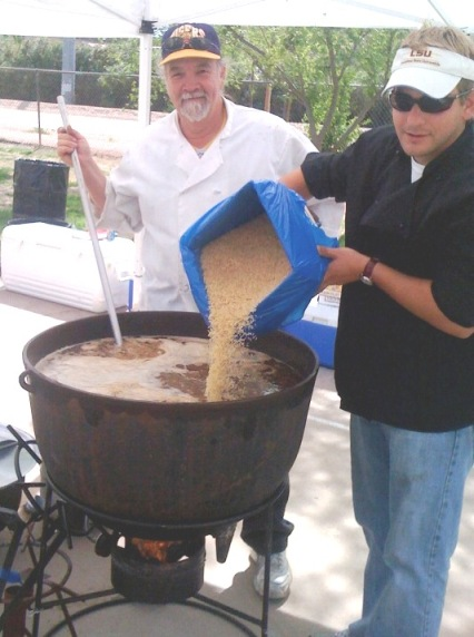 Myself and Sean Dieffenbaugher add rice to the Jambalaya
