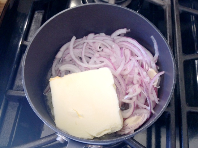 Butter and red onions